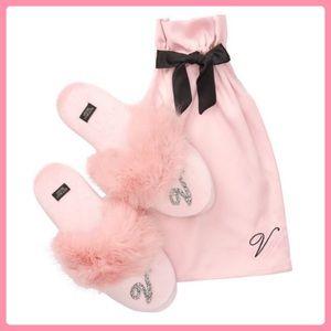 New Victoria's Secret Velvet Logo Slippers